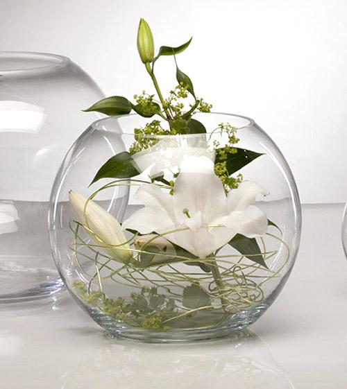 Location fleurs et d co for Aquarium boule en verre