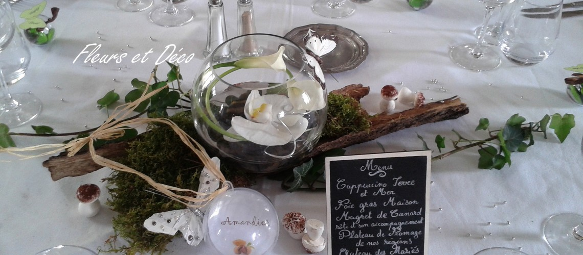 Mariage nature en blanc vert fleurs et d co for Centre de table nature