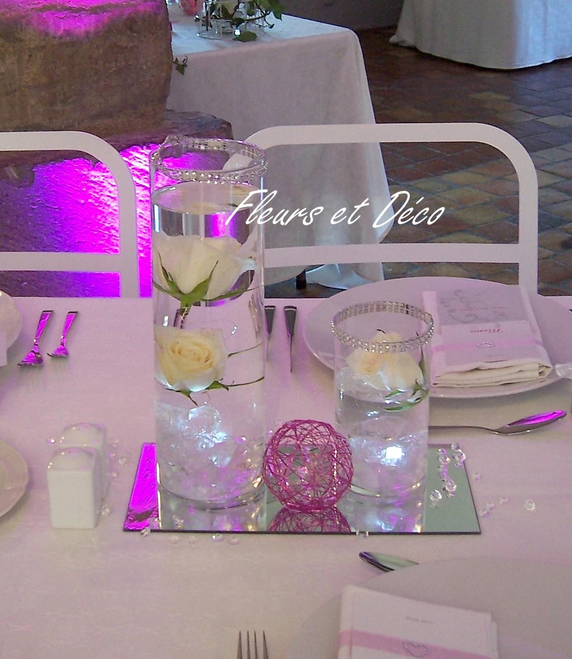 Miroir rectangle en location fleurs et d co - Centre de table avec miroir ...