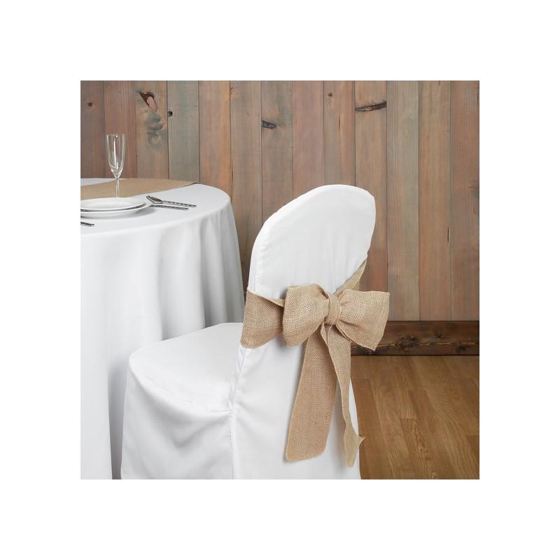 n ud de chaise toile de jute en location fleurs et d co. Black Bedroom Furniture Sets. Home Design Ideas