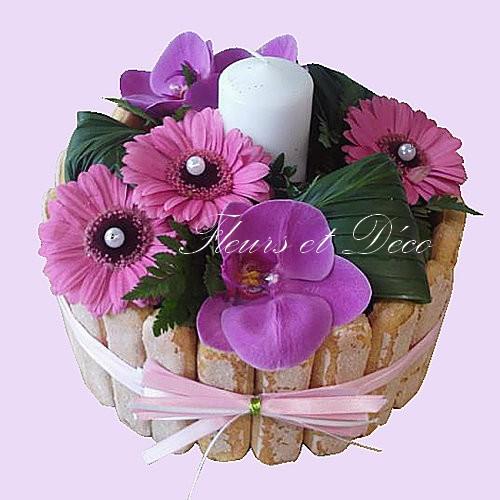 Gâteau floral exotique, orchidées .