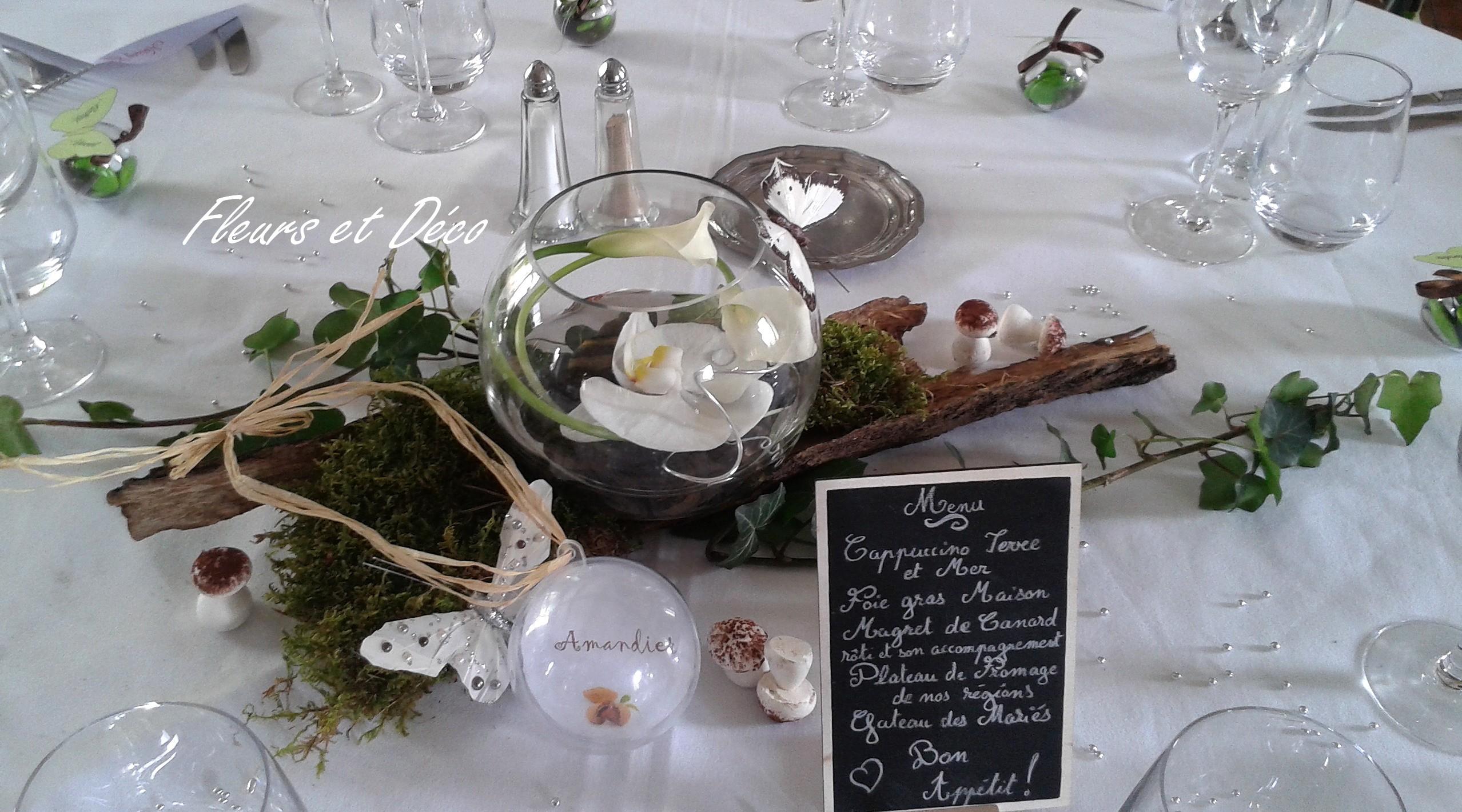 Mariage «nature» en blanc/vert
