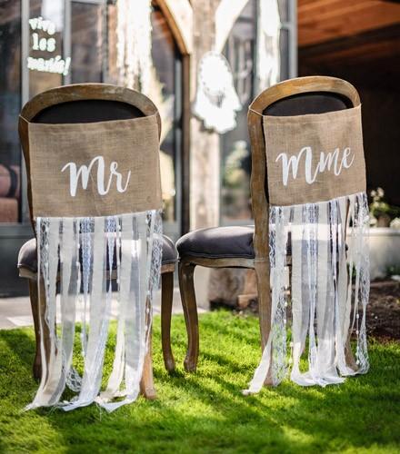 Fanions de chaise Mr et Mme